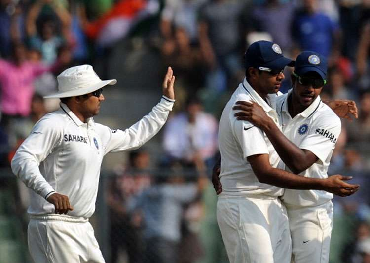 A file image of Virender Sehwag, R Ashwin and Varun Aaron.- India Tv