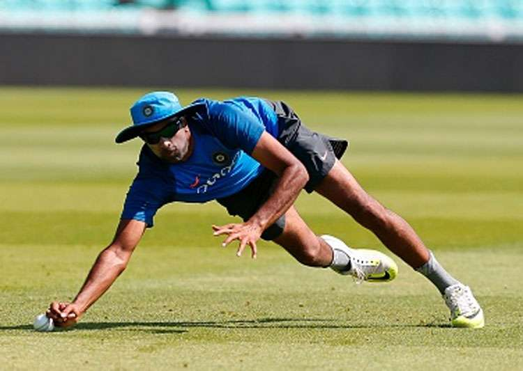 R Ashwin takes a catch during a net session.- India Tv
