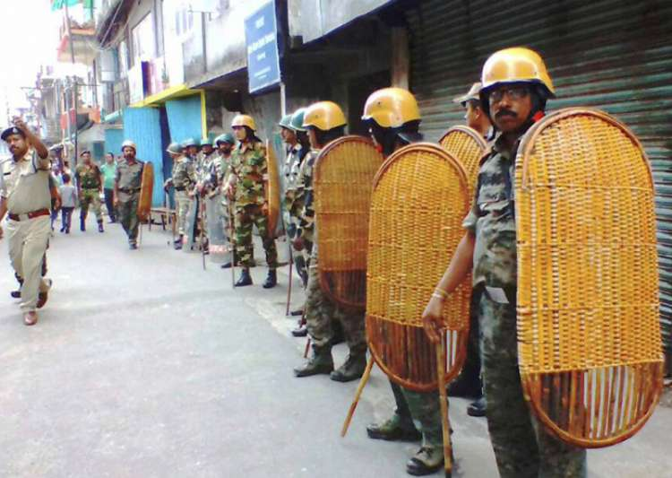 Security personnel during strike in Darjeeling on Wednesday