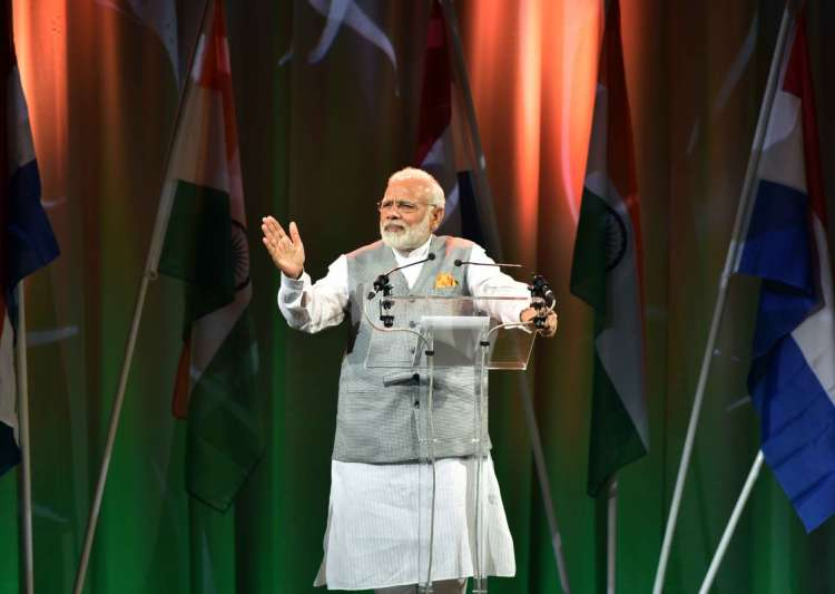 Narendra Modi addressing Indian diaspora in the Netherlands