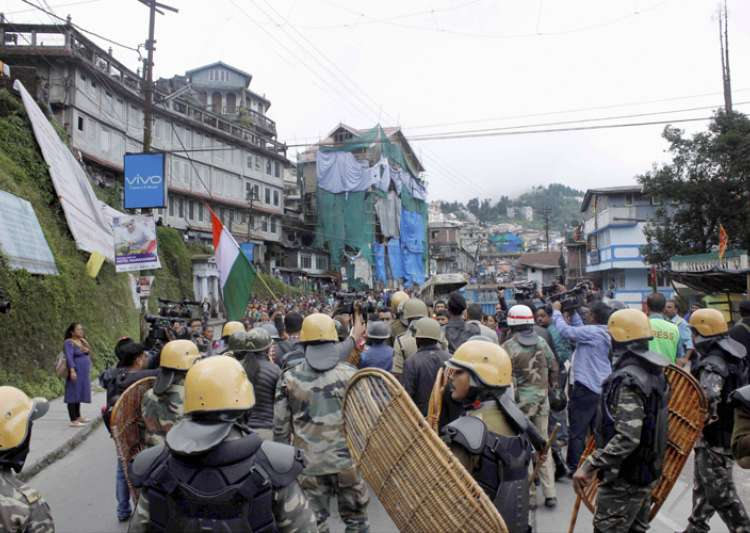 Security personnel during a protest by GJM in Darjeeling- India Tv