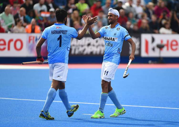 Harmanpreet Singh of India celebrates his goal with Mandeep- India Tv