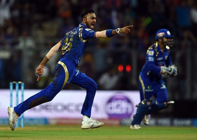 Krunal Pandya of MI celebrates after taking a wicket