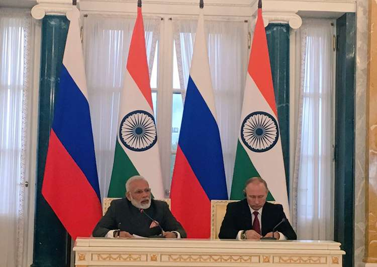 PM Modi and Vladimir Putin at a joint press conference in