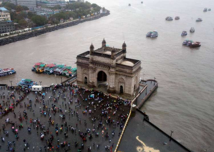 Ariel view of Gateway of India as monsoon start South- India Tv