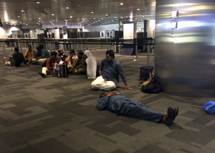 Passengers of cancelled flights wait at Doha Airport- India Tv