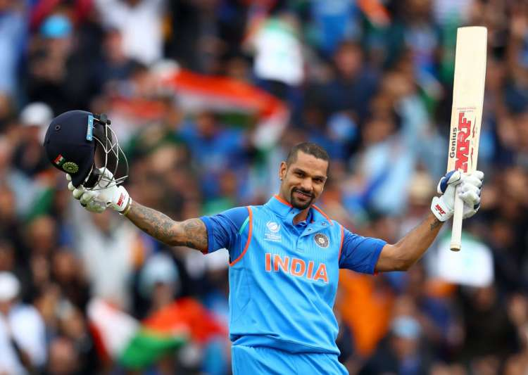 Shikhar Dhawan of India celebrates his century during the- India Tv