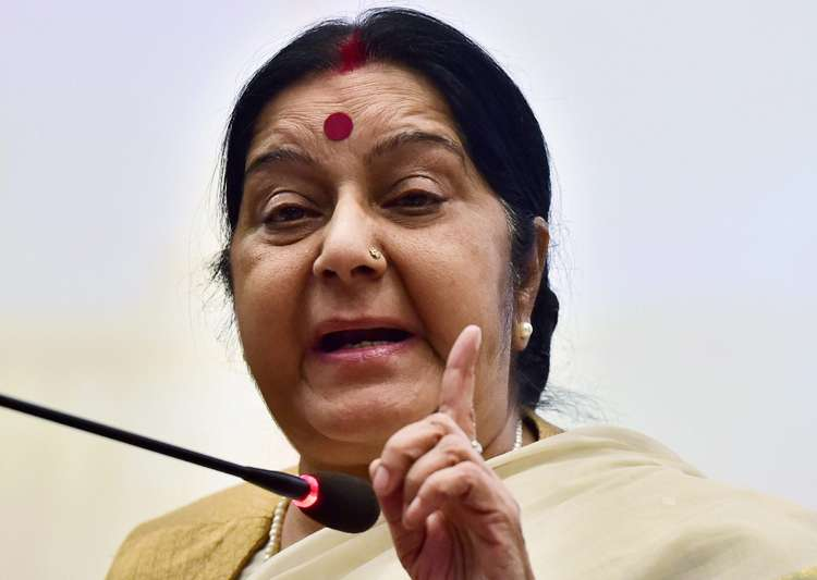External Affairs Minister Sushma Swaraj speaks to media in- India Tv