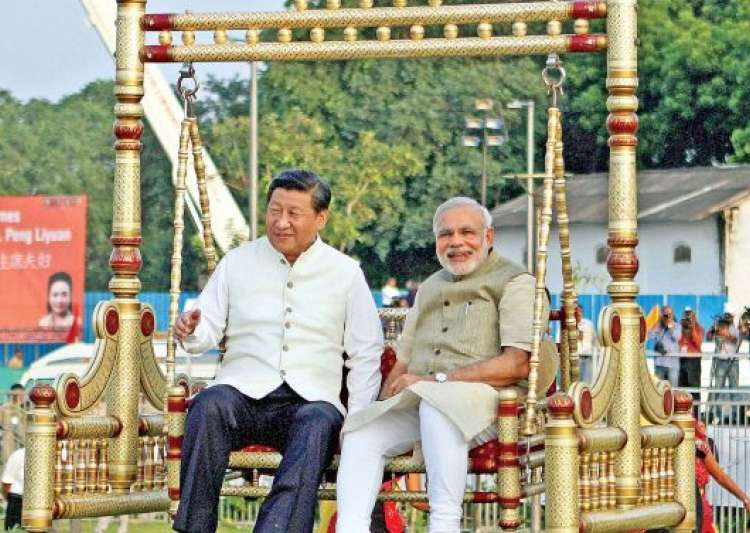 Image result for modi on swing  with chinese man