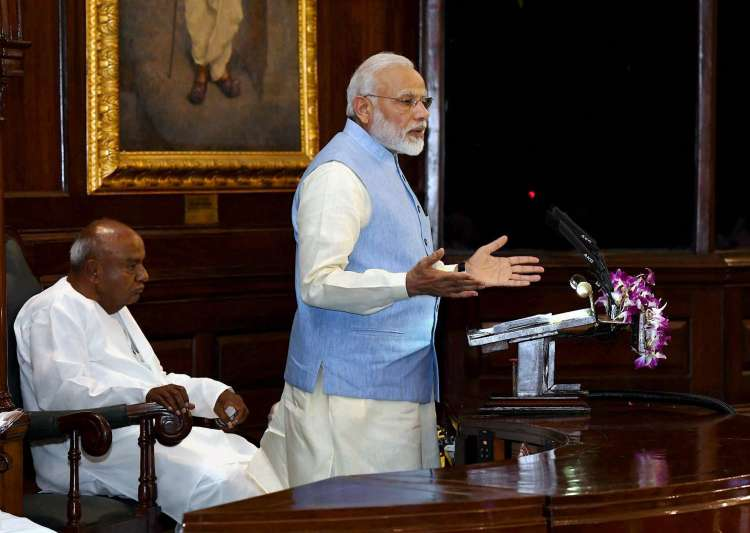 PM Narendra Modi addressing the gathering at the Central- India Tv