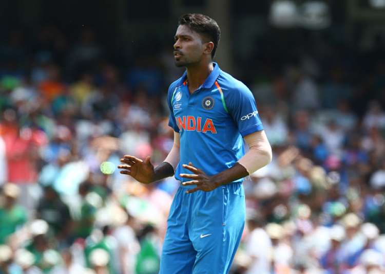 Hardik Pandya of India during the match