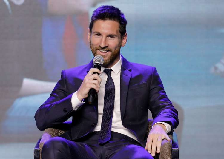 Barcelona's striker Lionel Messi speaks during a news