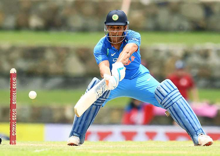 MS Dhoni in action during India's third ODI against West