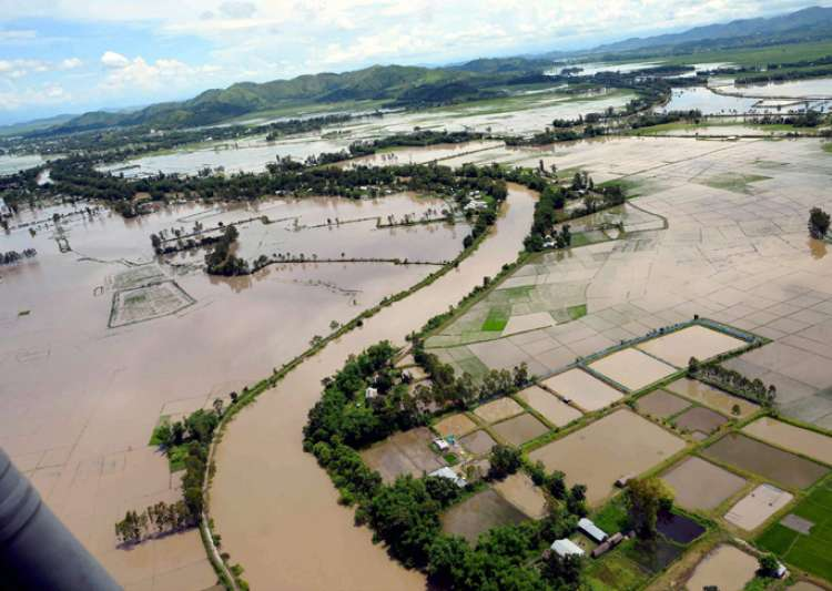 An aerial view of the flood affected areas in Imphal,- India Tv