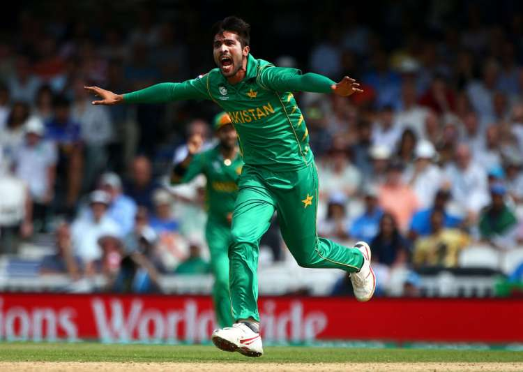 Mohammad Amir appeals during a match
