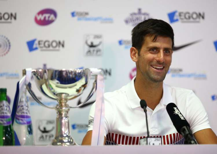 Novak Djokovic of Serbia chats to media after winning the- India Tv