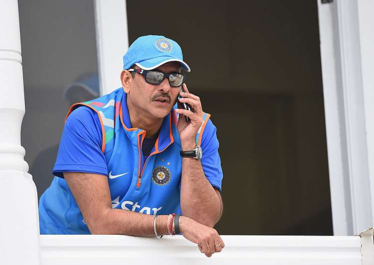 Ravi Shastri of India speaks on the phone during net- India Tv