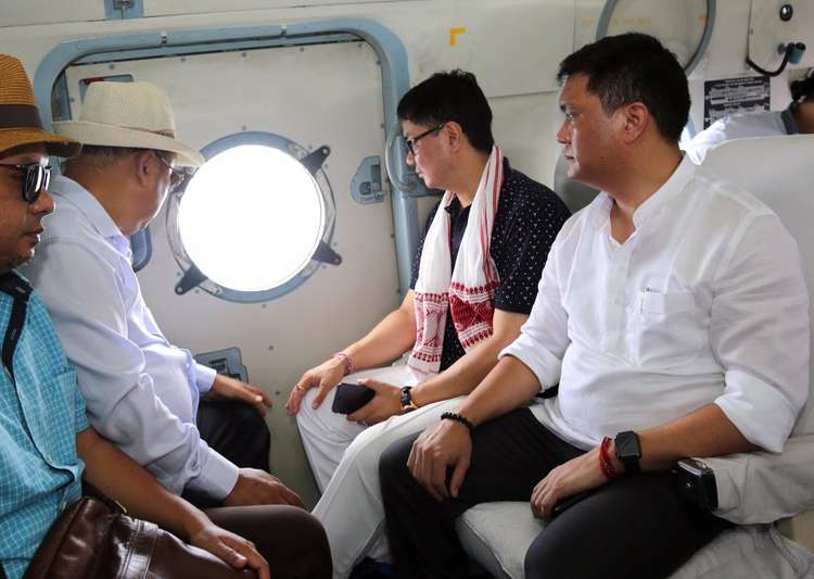 Kiren Rijiju, Pema Khandu undertake aerial survey of