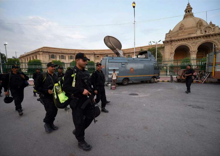 Security personnel outside UP assembly in Lucknow on Friday