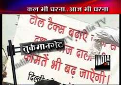 congress activists stage protests against delhi toll tax