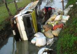 four dead 25 injured as truck falls into ditch in gujarat