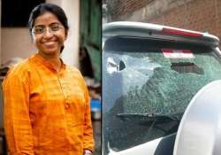 activist s car stoned in hyderabad after she launches