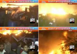 nearly 500 slum dwellings gutted in delhi fire