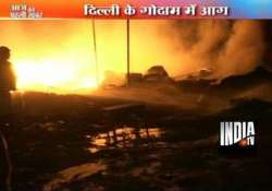 two suffer burns lakhs worth goods gutted in delhi godown