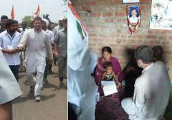 rahul gandhi consoles families of farmers who committed