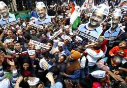 after aap s remarkable triumph people throng party office