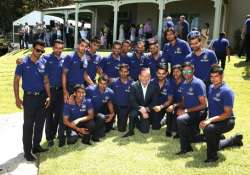 indian team attends afternoon tea session with australian