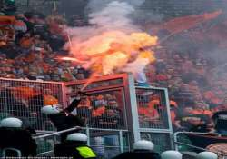 football fan in poland set on fire after being sprayed by