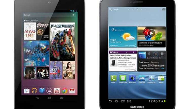 a comparison google nexus 7 vs samsung galaxy tab 2 p3100