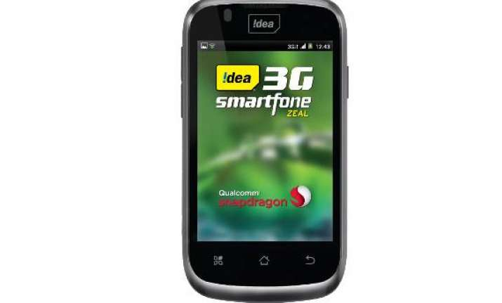 idea zeal 3g smartphone launched for rs 5 390