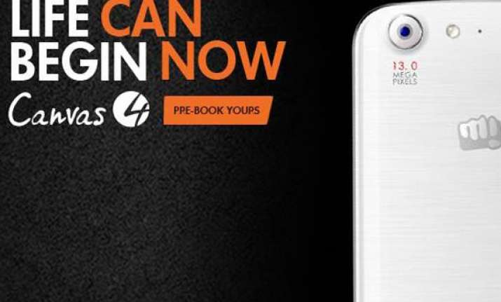 micromax canvas 4 pre booking begins in india
