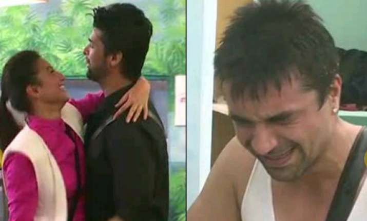 bigg boss 7 ajaz breaks down as gauhar and kushal get close