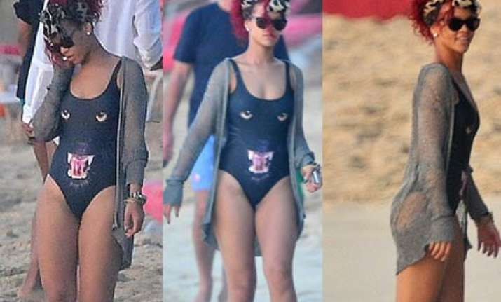 rihanna wears a black panther swimsuit in barbados