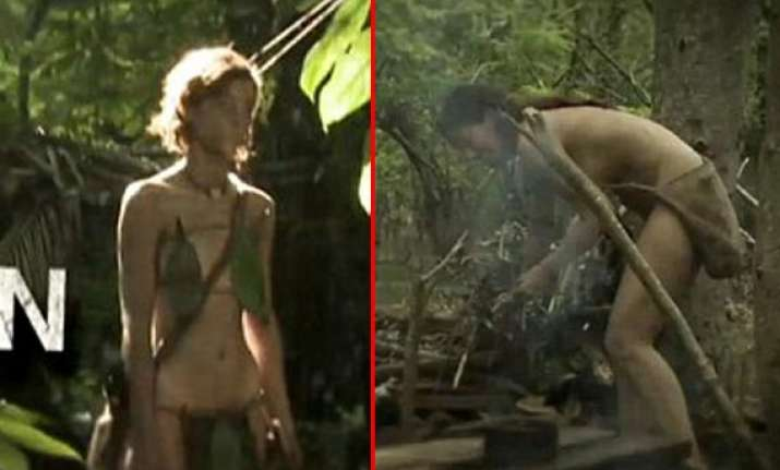 nude couples in forest without food compete in discovery