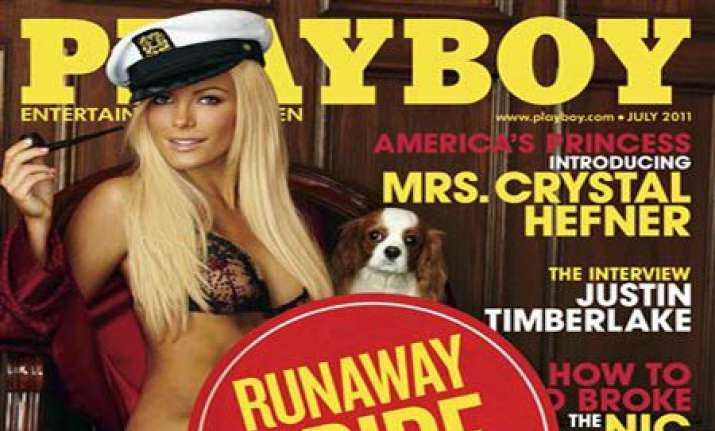 runaway bride sticker on playboy july issue
