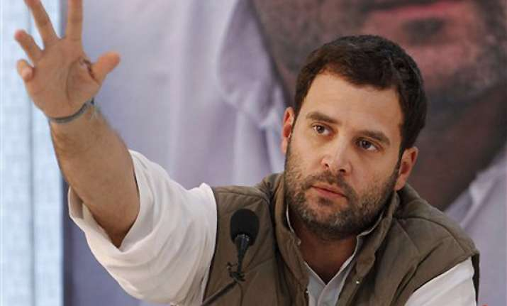 rahul tears off paper says mere promises are of no use