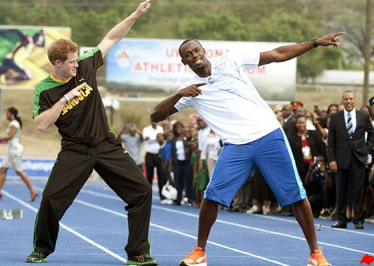 prince harry runs with usain bolt in jamaica- India Tv