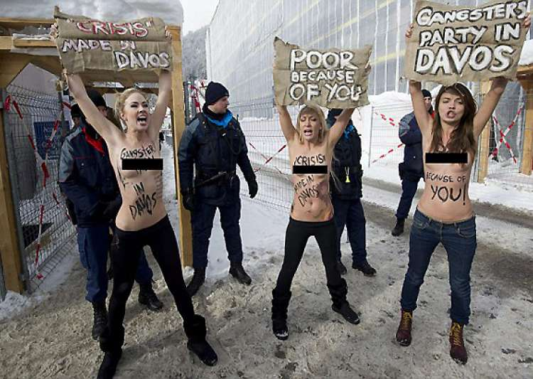 Topless Ukrainian Women Stage Protest At World Economic ...