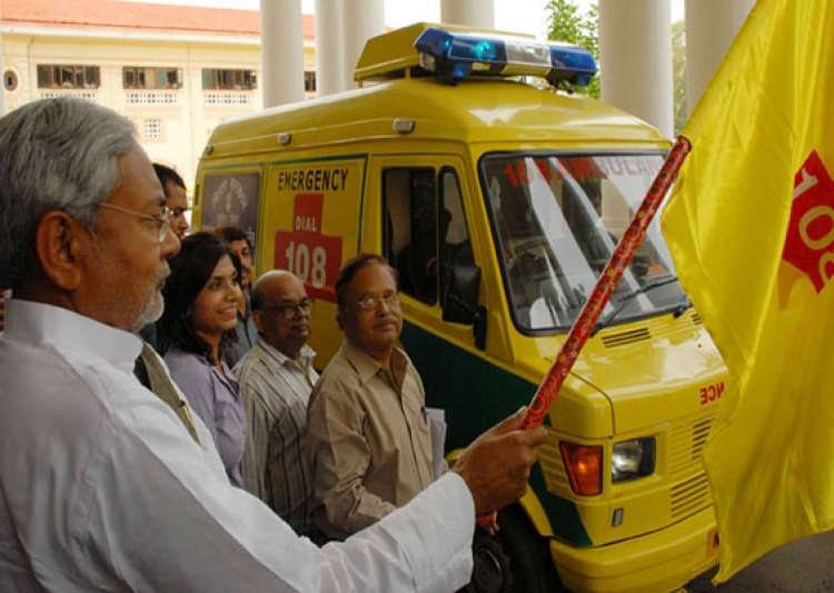 nitish flags off advance life support ambulance- India Tv