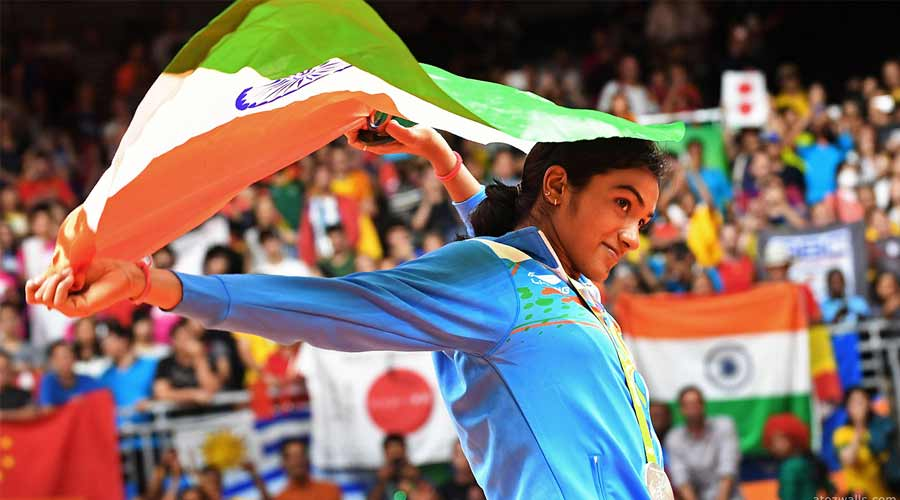 PV Sindhu wins a silver medal in women's singles badminton
