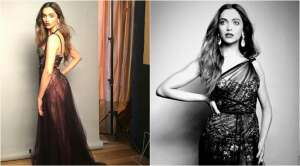 Deepika Padukone stunned everyone in Marchesa Notte off-shoulder maroon gown.