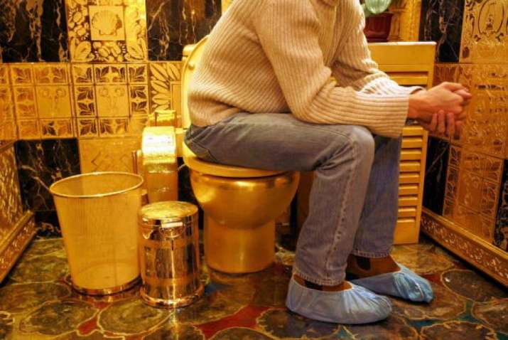 gold toilet. Functional gold toilet named  America to open public at US