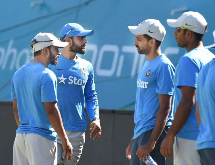 Team India at practice session ahead of first ODI against NZ