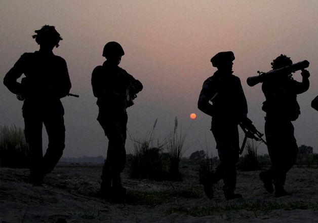 File pic of Army jawans doing foot patrolling