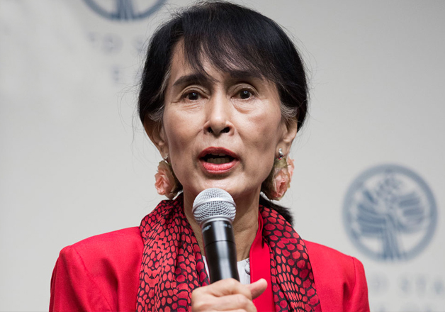 File pic of Aung San Suu Kyi speaking at an event