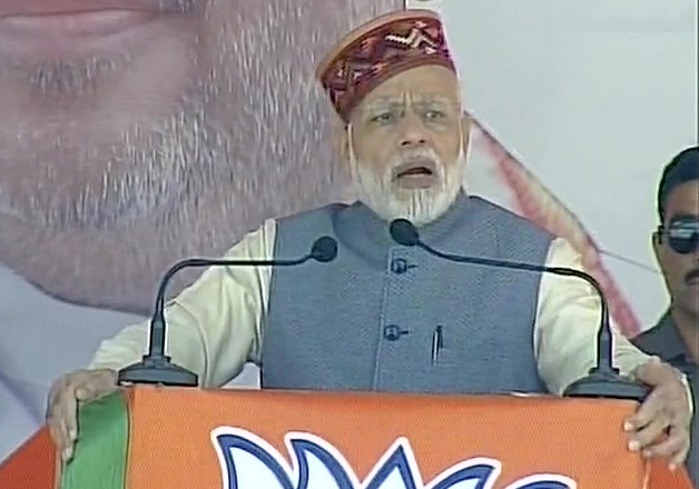 Pm Narendra Modi addressing a rally in Mandi.